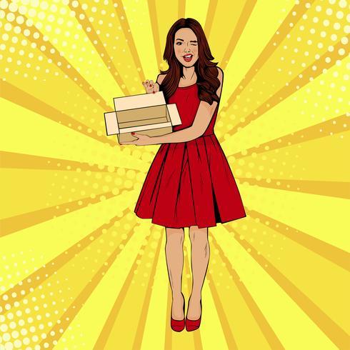 Jeune femme surprise sexy tenant une boîte vide. Illustration vectorielle dans un style rétro pop art comique. Modèle de certificat-cadeau. vecteur