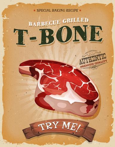 Affiche De Steak De T-Bone Grunge Et Vintage vecteur