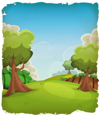 Fond de paysage rural de dessin animé vecteur