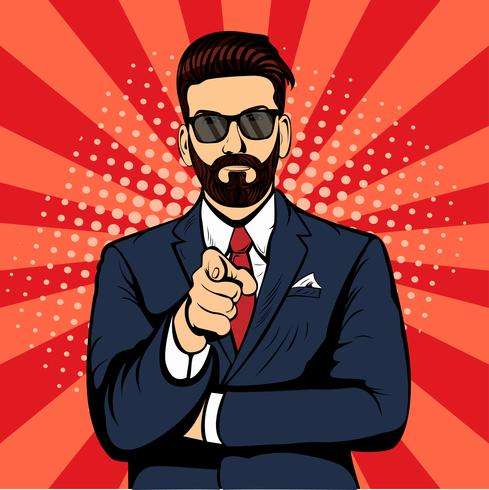 Homme d'affaires hipster barbu pointant le doigt pop art rétro vecteur. L'index. Promo personnes vecteur