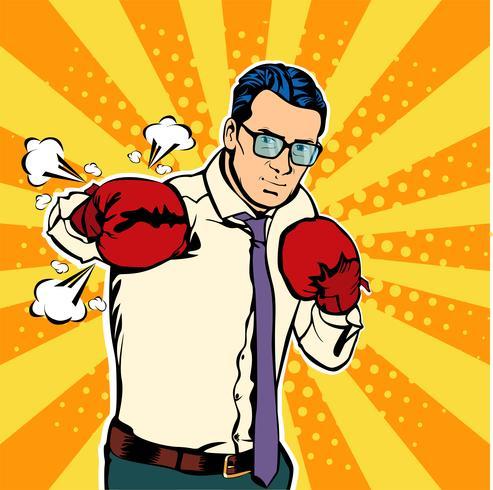 Homme dans les gants de boxe vector illustration dans un style bande dessinée pop art. Homme d'affaires prêt à se battre et à protéger son concept d'entreprise. Club de combat. Boxe et gant, force du boxeur. Illustration vectorielle