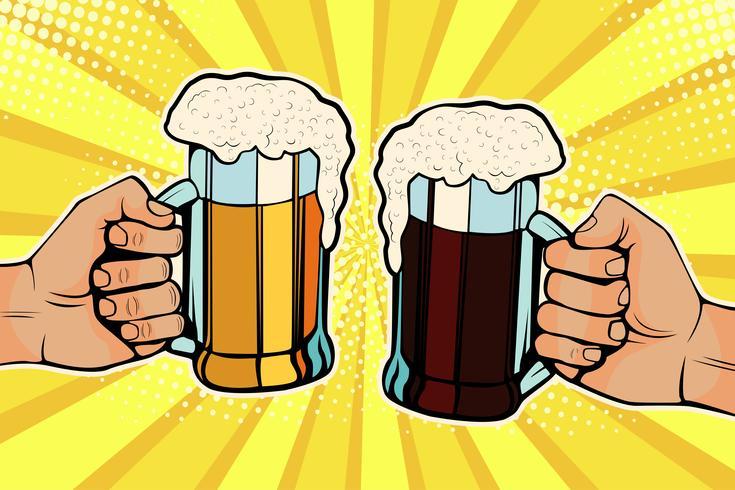 Mains avec des chopes de bière. Fête de la fête de la bière. Illustration vectorielle dans un style bande dessinée rétro pop art vecteur