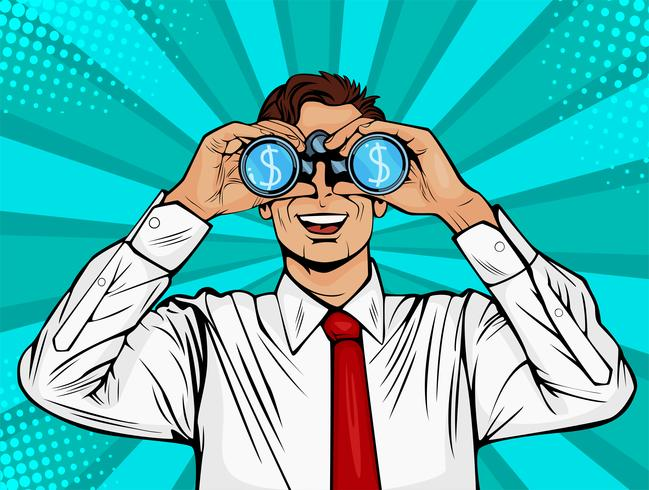 Suivi financier des jumelles de monnaie dollar homme d'affaires. Homme surpris avec la bouche ouverte. Fond de vecteur coloré dans un style bande dessinée rétro pop art.