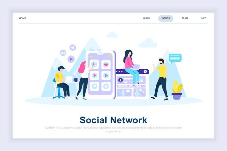 Concept de design plat moderne de réseau social vecteur