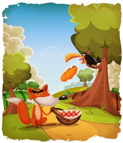Scène de l'histoire du corbeau et du renard vecteur