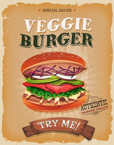 Affiche végétarienne de burger grunge et vintage vecteur