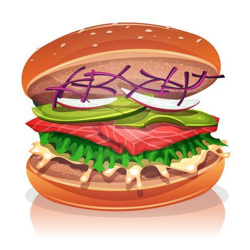 Burger végétarien au poisson saumon vecteur