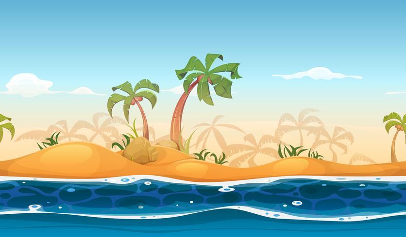 Paysage de plage tropicale sans soudure vecteur