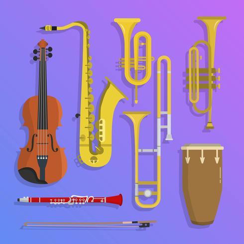 Illustration vectorielle de plat jazz instruments de musique vecteur