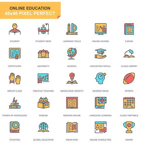 jeu d'icônes de l'éducation et de la connaissance vecteur