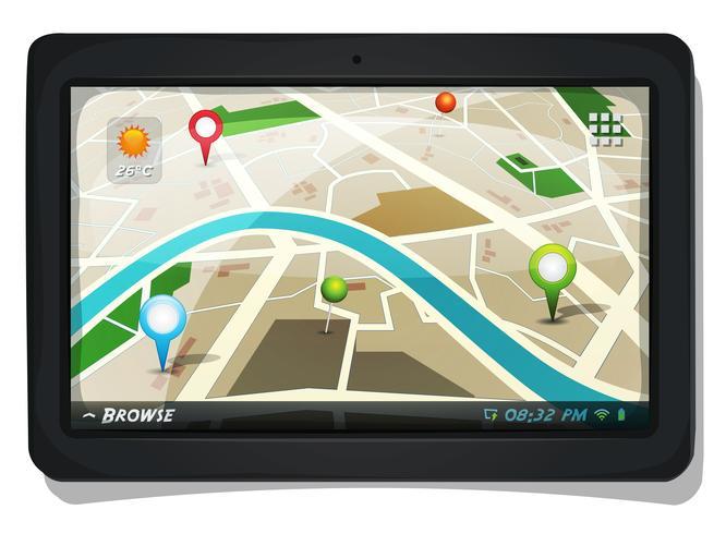 Carte de rue avec épingles GPS sur l'écran de la tablette PC vecteur