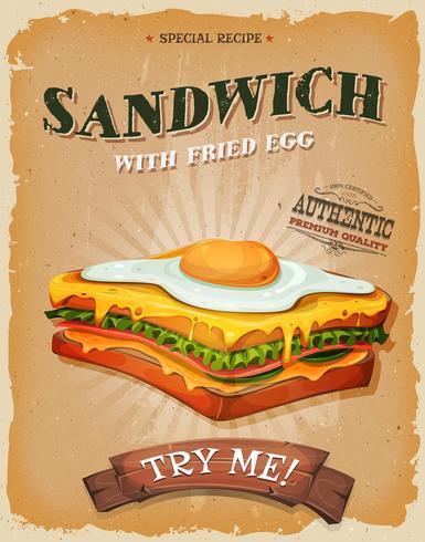 Affiche grunge et sandwich vintage avec œuf au plat vecteur