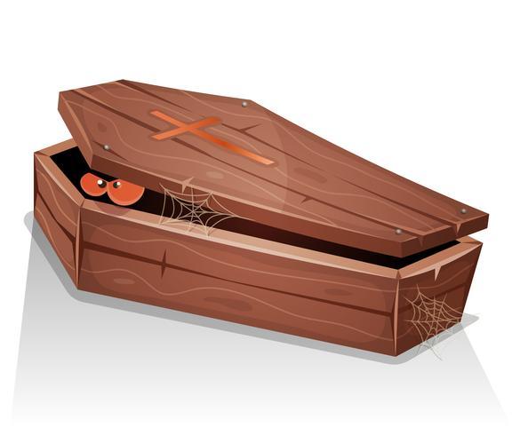 Yeux, vampire, intérieur, bois, cercueil vecteur