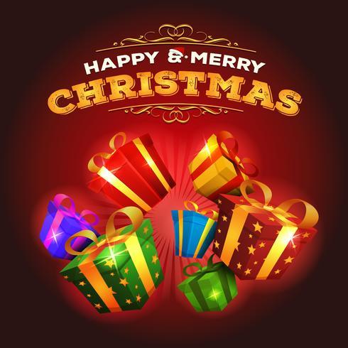 Joyeux Noël fond avec explosion de cadeaux vecteur