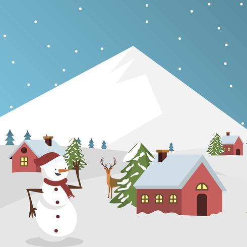 Illustration vectorielle de village d'hiver plat vecteur