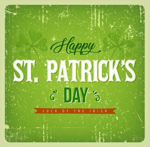 Carte vintage de joyeux jour de St. Patrick vecteur