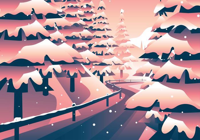 Chemin dans la forêt d'hiver vecteur