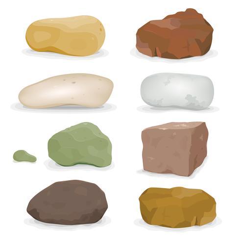 Ensemble rochers, rochers et pierres vecteur