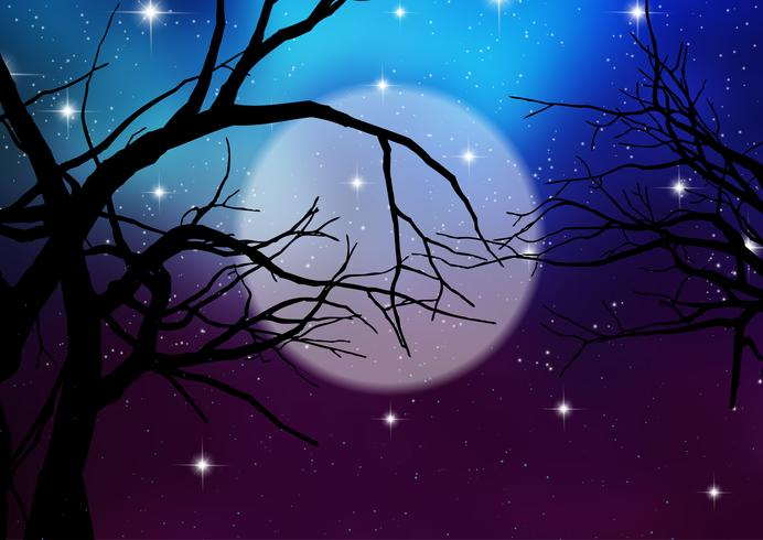 Fond d'Halloween avec des arbres fantasmagoriques vecteur