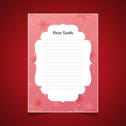 Lettre de Noël au père Noël avec des flocons de neige vecteur