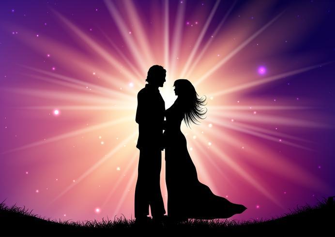 Silhouette de couple de mariage sur fond starburst vecteur