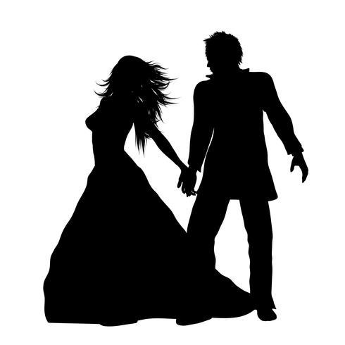 Silhouette d'un marié vecteur