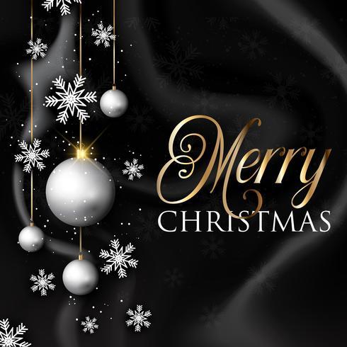 Boules de Noël et des flocons de neige sur la texture de marbre noir vecteur