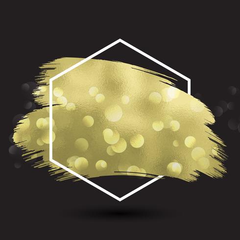 Abstrait avec texture or métallique en cadre hexagonal vecteur