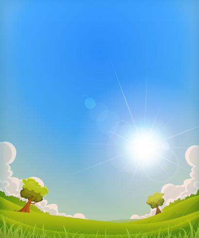 Paysage de printemps avec halo de soleil brillant vecteur