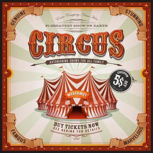 Affiche Vintage Old Circus Square vecteur