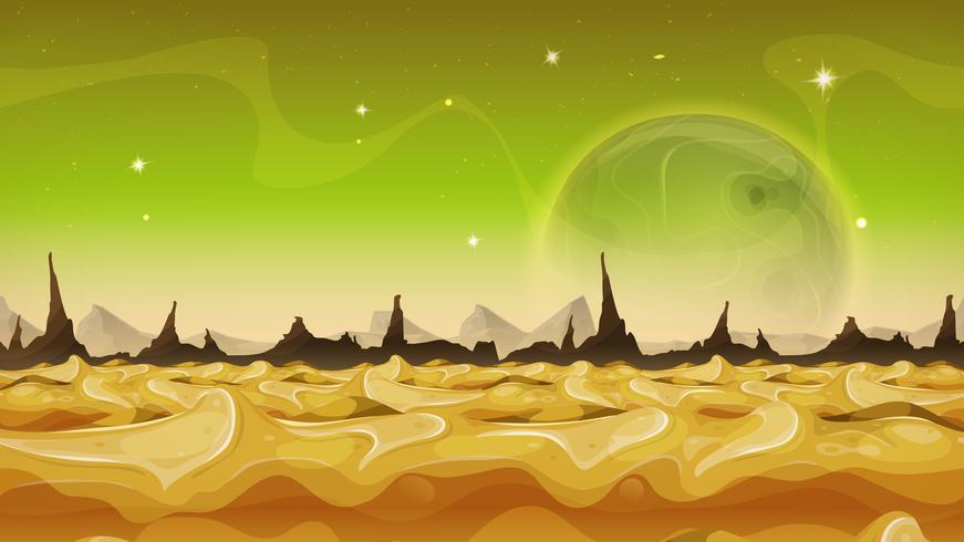 Fantasy Sci-Fi Alien Planet Background pour le jeu de l'interface utilisateur vecteur