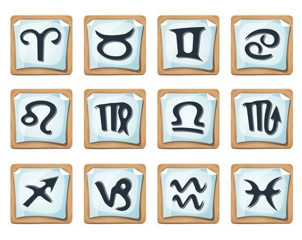 Ensemble d'icônes et de signes du zodiaque vecteur