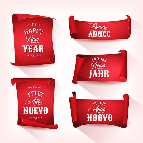 Bonne année en multilingue sur parchemins rouges vecteur