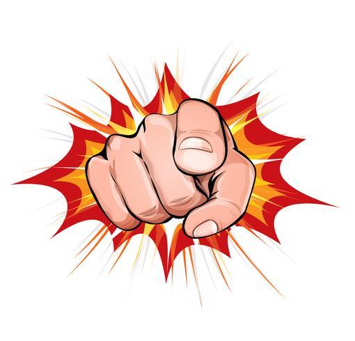 Pointer du doigt sur fond d'explosion vecteur
