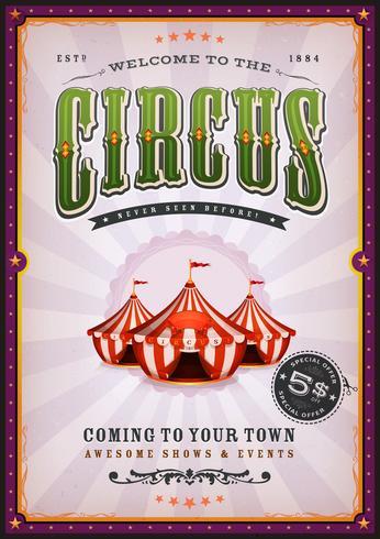 Affiche Vintage De Cirque Avec Des Rayons De Soleil vecteur