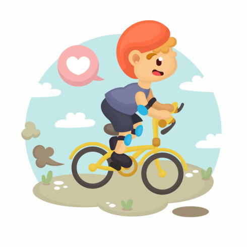 Vecteur de vélo garçon
