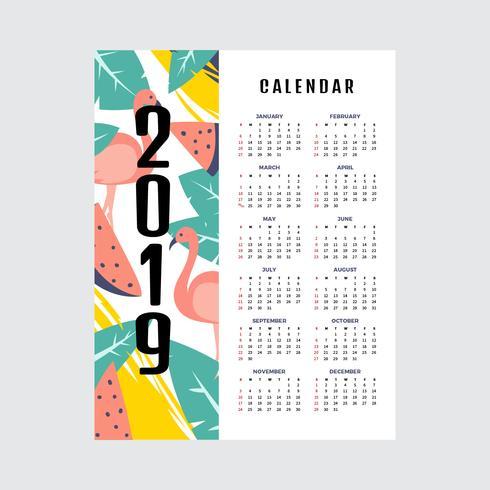 Calendrier imprimable Tropical 2019 vecteur