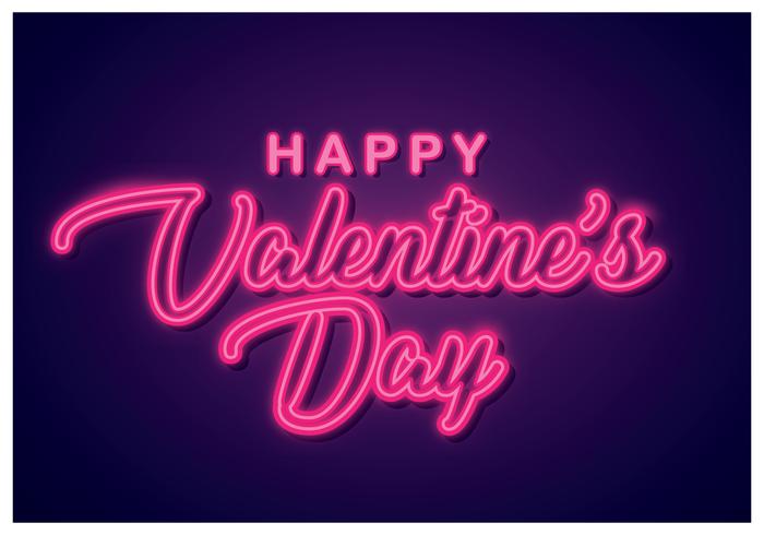 Heureuse Saint Valentin au néon vecteur
