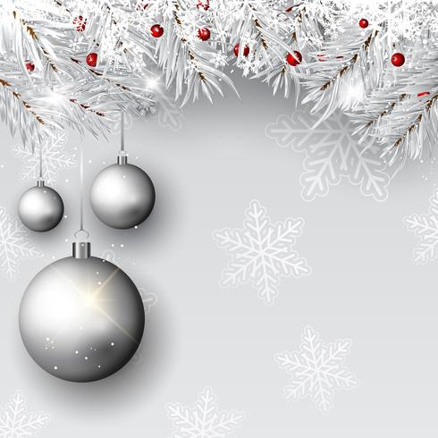 Boules de Noël sur des branches d'argent vecteur