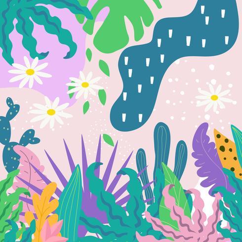 Fond de feuilles de jungle tropicale. Conception d'affiche de fleurs tropicales vecteur