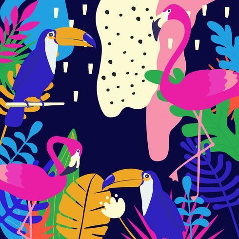 Jungle tropicale feuilles fond avec flamants roses et toucans vecteur