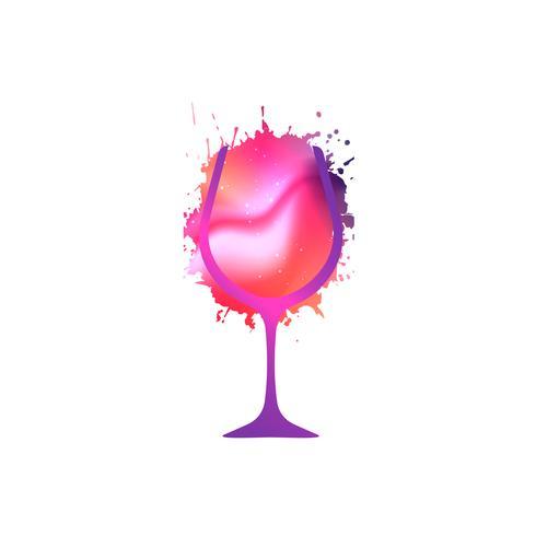 Design créatif en verre à vin vecteur