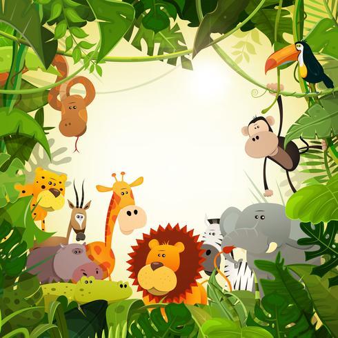 Fond d'animaux de la jungle de la faune vecteur