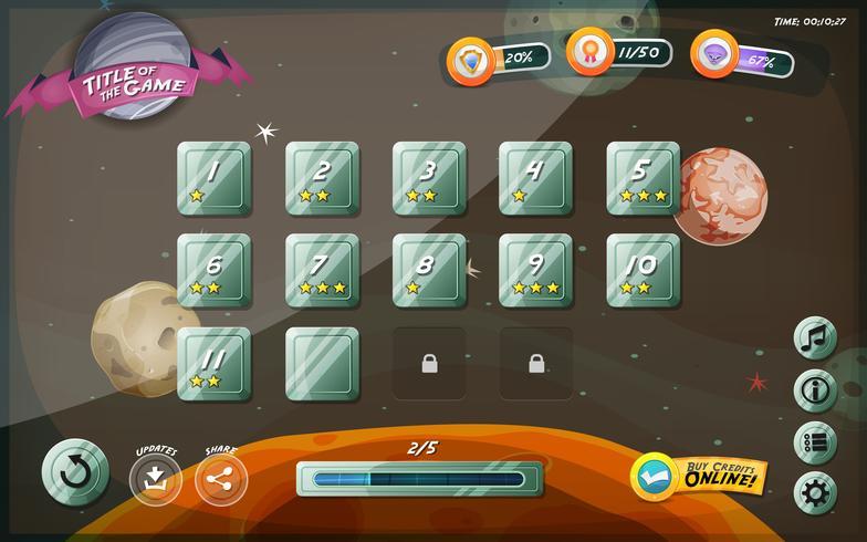 Conception de l'interface utilisateur du jeu Scifi pour tablette vecteur