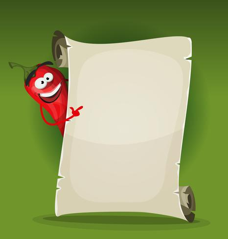 Red Hot Chili Pepper Holding Menu du restaurant vecteur