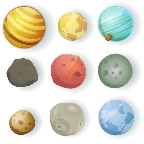 jeu de planètes de dessin animé vecteur