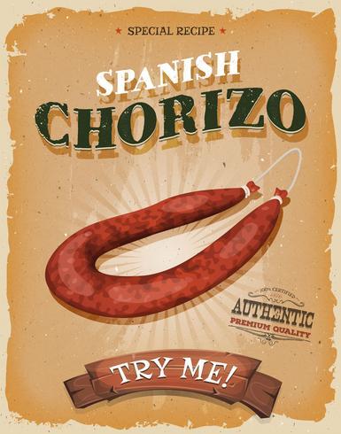 Affiche grunge et vintage de chorizo espagnol vecteur