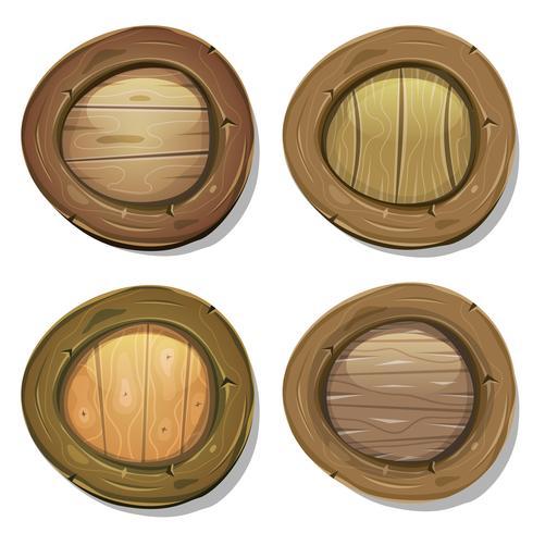 Boucliers de Viking en bois arrondis comiques vecteur