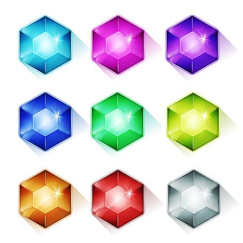 Gemmes, Cristal Et Diamants Icônes vecteur