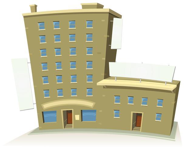 Bâtiment de magasin de bande dessinée avec des appartements et des bannières vecteur